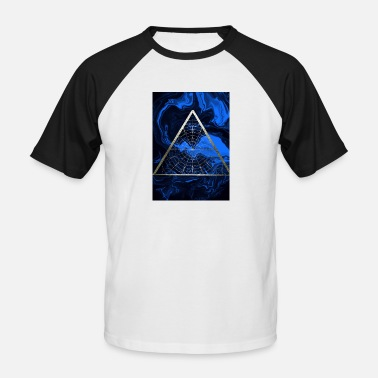 Dream catcher triangle blue gold - abstract painting - Men's Baseball T-Shirt