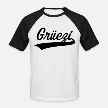 Grüezi lettering (Switzerland / Schwizerdütsch) - Men's Baseball T-Shirt