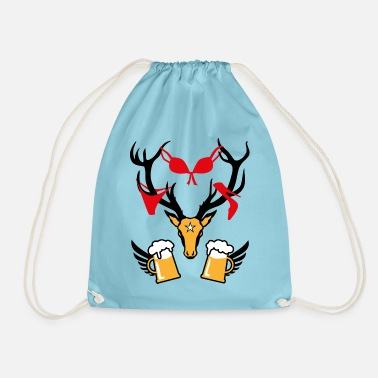 Stag Underwear 242 deer with prey deer head beer - Drawstring Bag