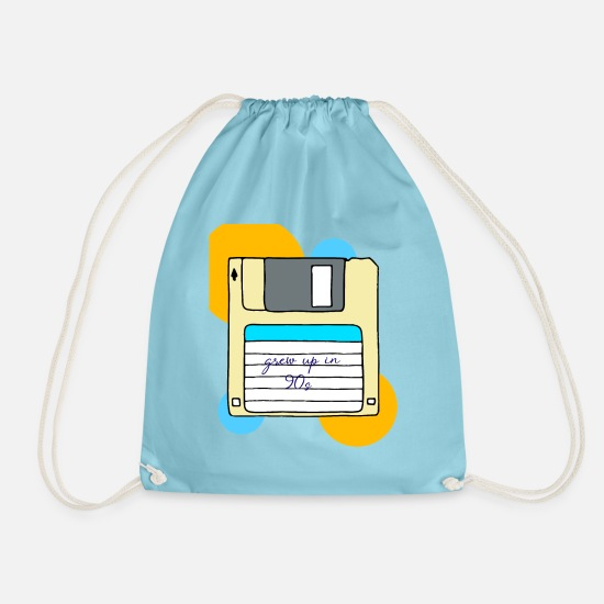 Birthday Bags & Backpacks - 90s 90s 90s 90s 90s - Drawstring Bag aqua