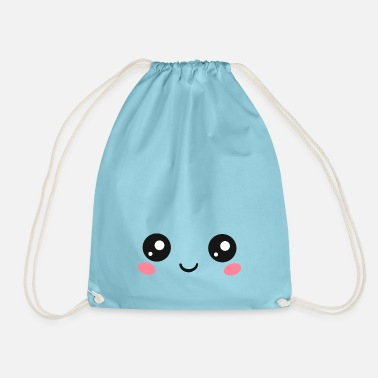 Kawaii Happy Kawaii Eyes, Manga Face, Anime, Comics - Drawstring Bag