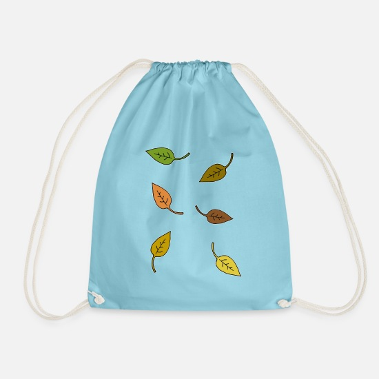 Gift Idea Bags & Backpacks - Autumn, leaves - Drawstring Bag aqua