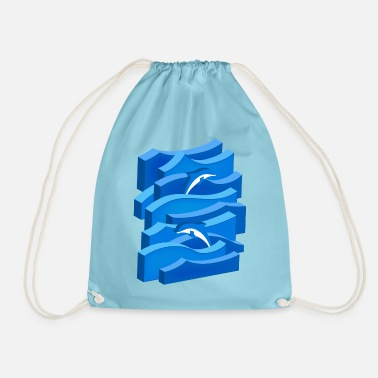 Waves & Dolphins (3D) - Drawstring Bag