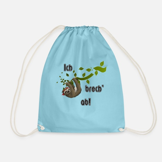 Ast Bags & Backpacks - Sloth | Say I break off! - Drawstring Bag aqua