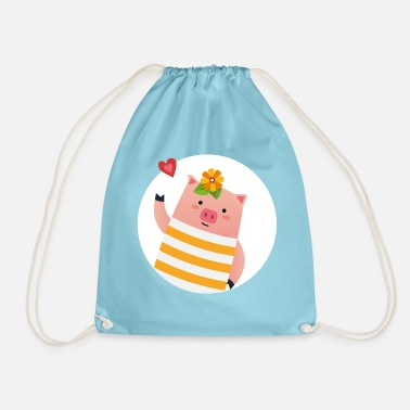 Sweet pig sends you a heart - Drawstring Bag