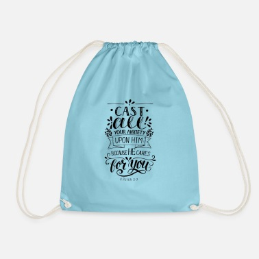 Your cast all your anxiety upon him Bible verse - Sac à dos cordon