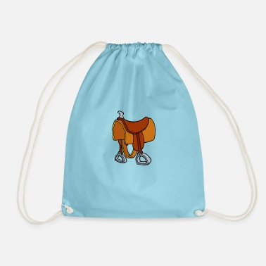Saddle Cowboy saddle - horse saddle drawing - Drawstring Bag