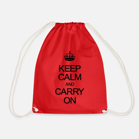 Calm Bags & Backpacks - Keep Calm and Carry On - Drawstring Bag red