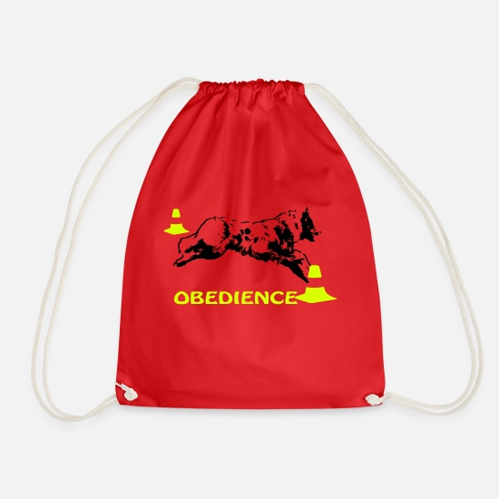 Aussie Bags & Backpacks - Obedience Aussie with pylons - Drawstring Bag red
