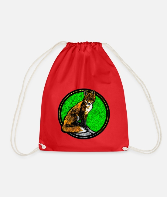 Clever Bags & Backpacks - Fox on rock (multicolored) - Drawstring Bag red