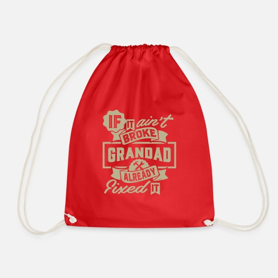 Grandad Bags & Backpacks - Grandad Already Fixed It - Drawstring Bag red