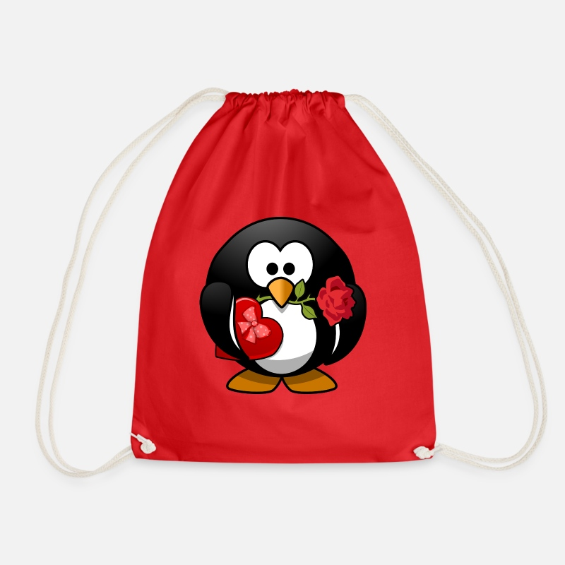 Valentine's Day Bags & Backpacks - valentines penguin - Drawstring Bag red