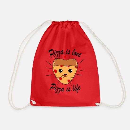 Pizza Bags & Backpacks - Pizza - Drawstring Bag red