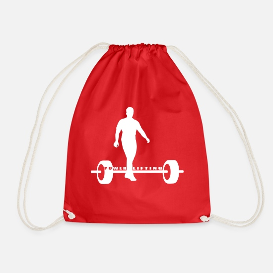Strong Man Bags & Backpacks - Power Lifting - Drawstring Bag red