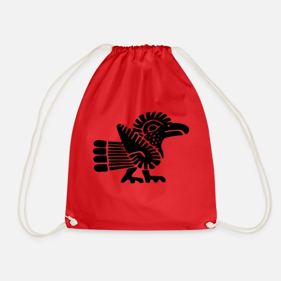 Inca Bags & Backpacks - Maya bird - Drawstring Bag red