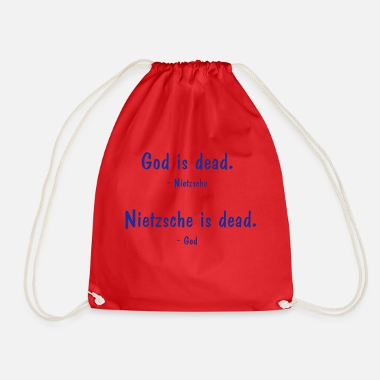 Science Bags & Backpacks - Nietzsche and God - both dead? Philosophy saying - Drawstring Bag red