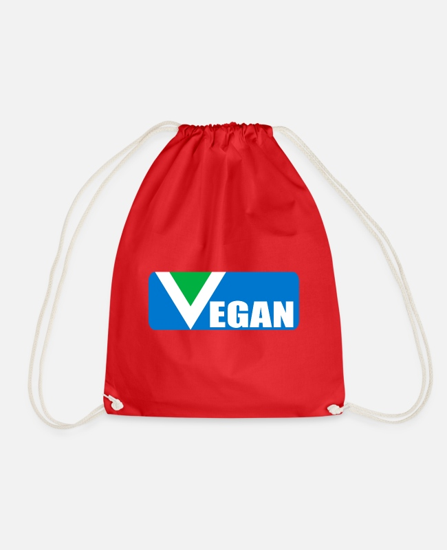Motion Bags & Backpacks - VEGAN written with background - Drawstring Bag red