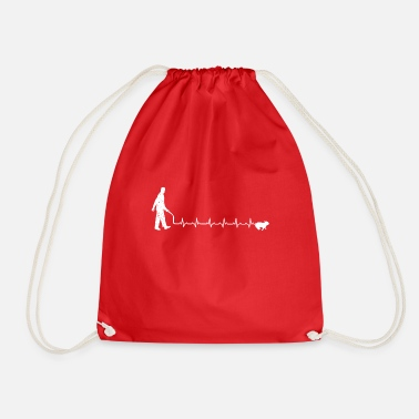 Dogwalking Heartbeats Love Dogwalk T-shirt - Drawstring Bag