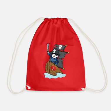 Pirate on pirate ship - number 1st birthday - Drawstring Bag