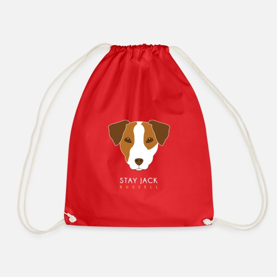 Jack Russel Bags & Backpacks - Jack Russell - Drawstring Bag red