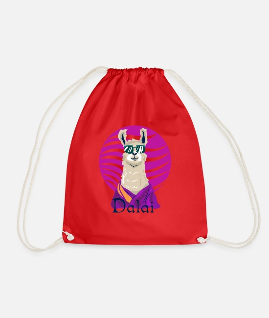 Himalaya Bags & Backpacks - Llama-Dalai - Drawstring Bag red