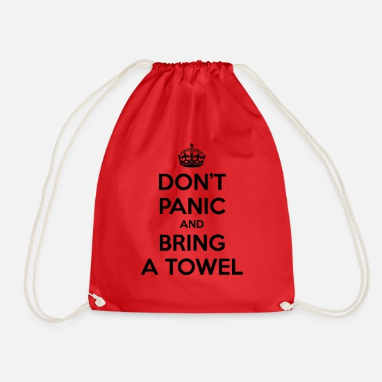 Hitchhiking Bags & Backpacks - Don't panic and bring a towel (Keep Calm) - Drawstring Bag red