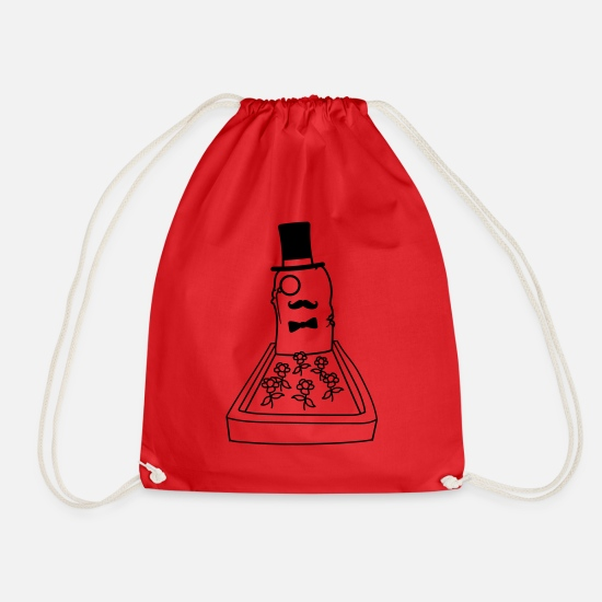 Be Enough Bags & Backpacks - sir gentleman gentlemen monocle tomb bee - Drawstring Bag red
