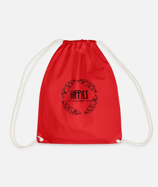 Hippy Bags & Backpacks - Hippie / Hippies: Hippies are nonjudgemental - Drawstring Bag red