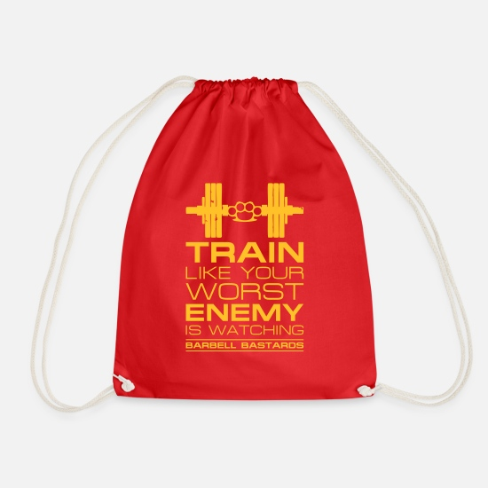 Wretch Bags & Backpacks - Barbell Bastards Worst Enemy - Drawstring Bag red