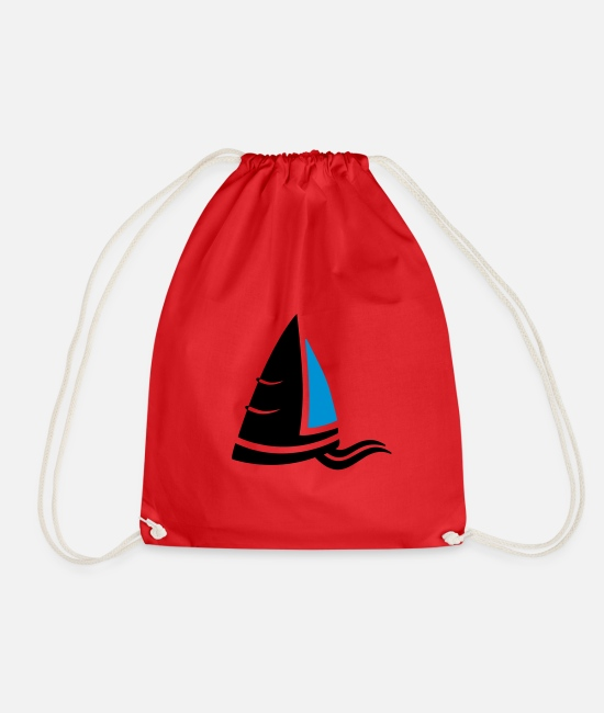 Sail Boat Bags & Backpacks - Sea air sailboat logo colored - Drawstring Bag red