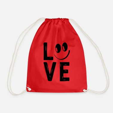 Love With Heart Love Smile Love Hearts Hearts Laugh Happy - Drawstring Bag