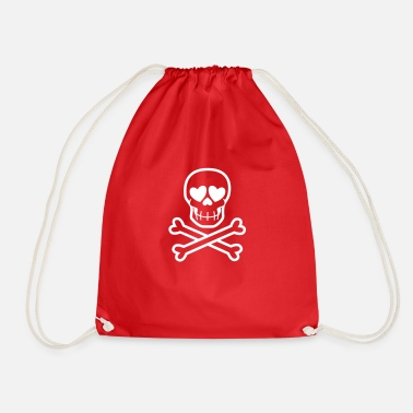 Eros & Thanatos Skull and Crossbones by Cheerful - Drawstring Bag