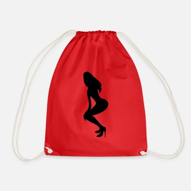 Naughty Hot Busty Girls With Long Sexy Legs With Long Hairs Silhouettes ۞»♥Vector Sexy Wasp-waisted woman on Stilettos♥ - Drawstring Bag
