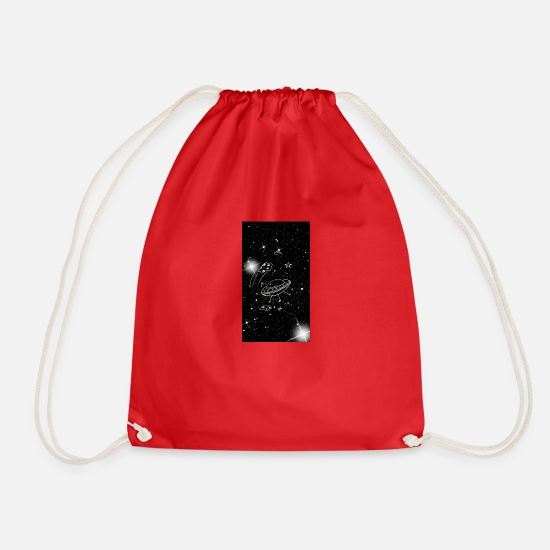 Black And White Bags & Backpacks - head in the stars - Drawstring Bag red