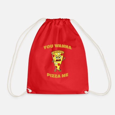 Novelty Pizza Funny Novelty Humor Design - Drawstring Bag