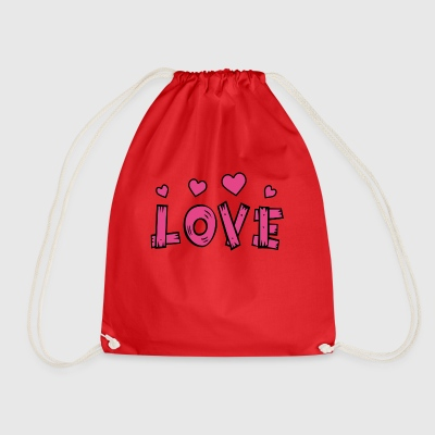 Love with hearts - Drawstring Bag