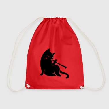 Cat plays flute - Drawstring Bag