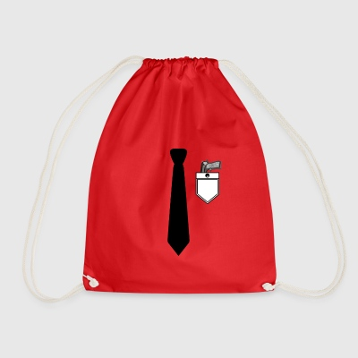 Shirt and suit with tie and gun rifle - Drawstring Bag
