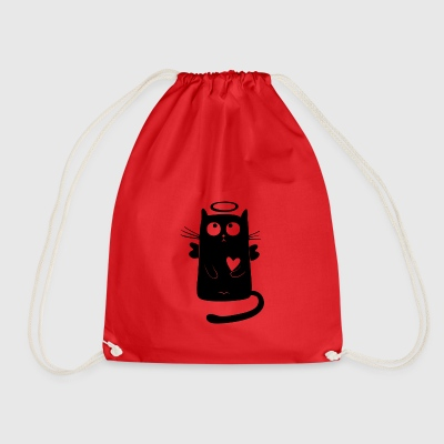 angelic cat - Drawstring Bag