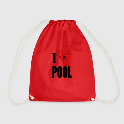 I love pool - Drawstring Bag