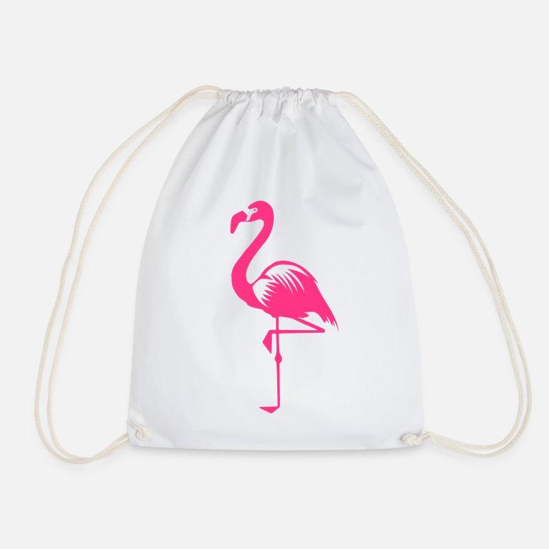 Flamingo Väskor   ryggsäckar - Flamingo rosa sommar rosa fågel djur vatten  fågel - Gymnastikpåse vit 97bad716f9514