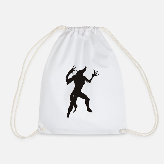 Full Moon Bags & Backpacks - werewolf - Drawstring Bag white