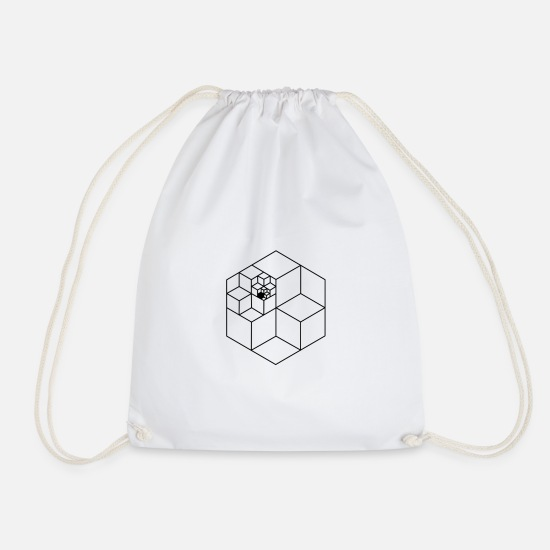 Cube Bags & Backpacks - Infinity cube black pattern - Drawstring Bag white