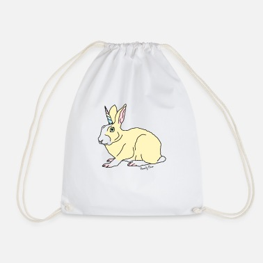 Bunny with a Horn - Drawstring Bag
