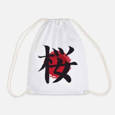 Japan cherry sakura japanese kanji Kirsche cerise kers - Drawstring Bag
