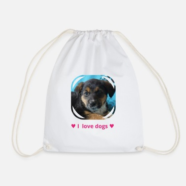 Sweet dog puppy i love dogs 1 - Drawstring Bag