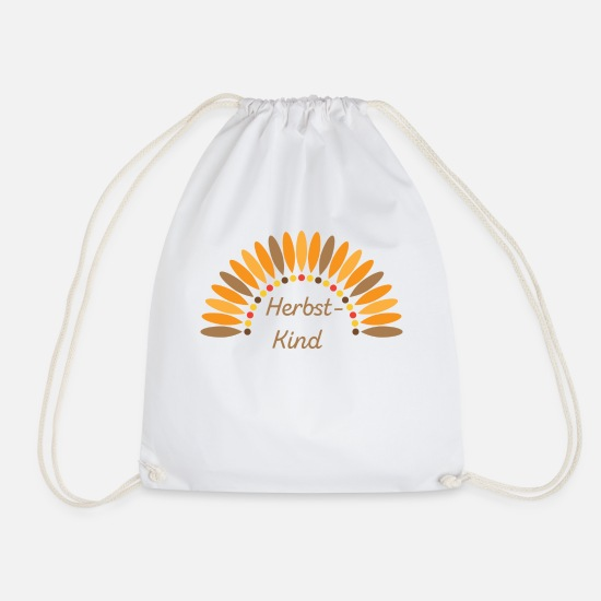 Birthday Bags & Backpacks - autumn child - Drawstring Bag white