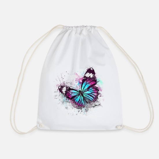 Watercolour Bags & Backpacks - Beautiful Butterfly Watercolour - Drawstring Bag white