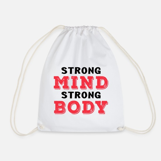 Bulk Up Bags & Backpacks - Strong mind strong body - Drawstring Bag white