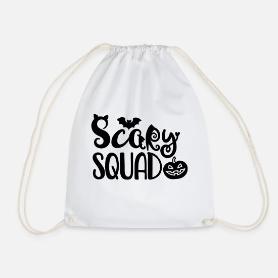 Witches Broom Bags & Backpacks - Scary Squad - Drawstring Bag white